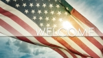Sunlit American Flag: Welcome